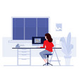 woman sitting at table and working at home vector image