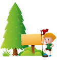 wooden sign and boy in the park vector image vector image