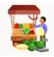 Vegetables and fruits product seller at the