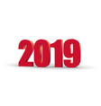 2019 happy new year red 3d numbers perspective vector image vector image