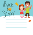 Back to school card design with two kids vector image vector image
