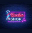barber shop logo neon sign logo design elements vector image vector image