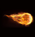 basketball ball flying in flames realistic vector image