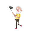 bearded old man doing selfie character vector image vector image