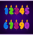 birthday candle colorful collection set all vector image vector image