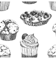 Cakes hand drawn pattern vector image