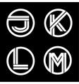 Capital letters J K L M Double white stripe vector image vector image