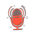 cartoon microphone icon in comic style mic vector image