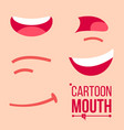 cartoon mouth set shock shouting smiling vector image