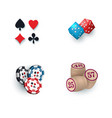 casino symbols - suits bingo kegs tokens dices vector image vector image