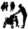 children with mom and dad silhouette vector image vector image
