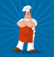 confident cook on blue background vector image vector image