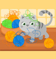cute kitty with wool ball vector image vector image