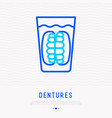 denture in glass thin line icon vector image vector image