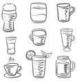 doodle drink set hand draw vector image vector image