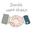 doodle hand shake handdrawn simple sketch concept vector image