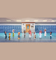 group of arab pupils walking in school corridor to vector image vector image