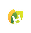 h letter leaf overlapping color logo icon vector image vector image