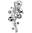 hand drawn of enchantress with planets vector image