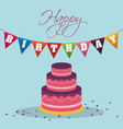 happy birthday cake pennant decoration confetti vector image vector image