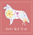 happy new year with collie gradient vector image vector image