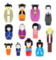 japanese kokeshi dolls beautiful girl vector image vector image