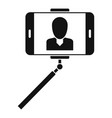 man take selfie monopod icon simple style vector image vector image