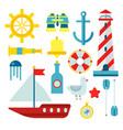 marine nautical sailor symbols and flat vector image vector image
