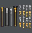 metallic zippers realistic gold silver zipper vector image vector image