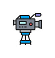 professional cinema camera with microphone flat vector image vector image