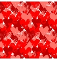 Red painted hearts on white seamless pattern vector image vector image