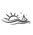 sailing vessel logo in sea vector image