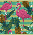 seamless pattern with flamingo pineapples banana vector image vector image