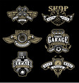 set vintage monochrome auto emblems badges vector image