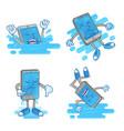 set wet smartphone vector image