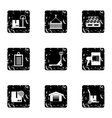Shipping icons set grunge style vector image vector image