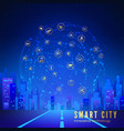 silhouette futuristic city on background of vector image