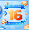 sixteen years anniversary celebration design vector image vector image