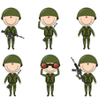 soldiers in different poses vector image