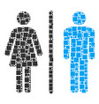 toilet persons collage of squares and circles vector image