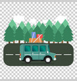 travel car campsite place landscape forest trees vector image