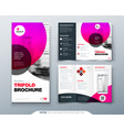 tri fold brochure design pink business template vector image vector image