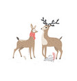 two beautiful deers stylish vector image vector image