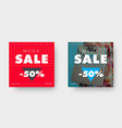 two square web banners for big sale with triangle vector image vector image