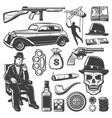 vintage gangster elements collection vector image vector image