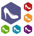 Women shoe with heels icons set vector image vector image