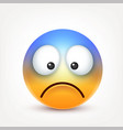 smiley sad emoticon yellow face with emotions vector image