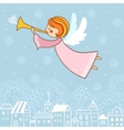 Christmas card with an angel vector image
