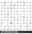 100 veterinary icons set outline style vector image vector image