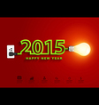 2015 happy new year concept creative light bulb vector image vector image